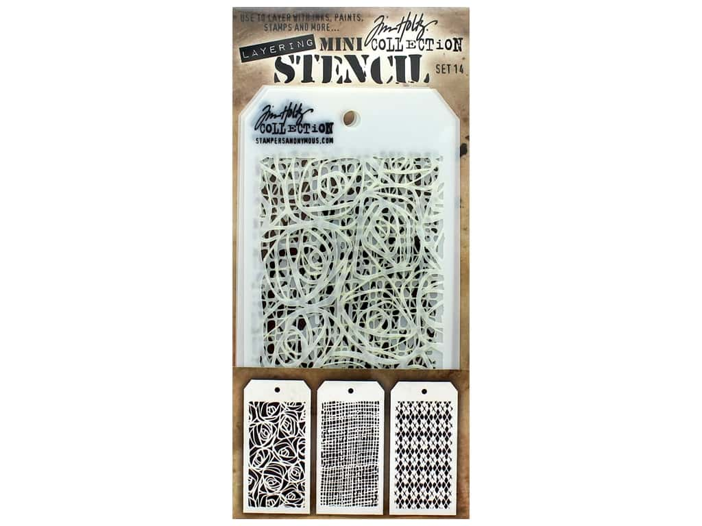 Stampers Anonymous Tim Holtz Layering Mini Stencil Set #14
