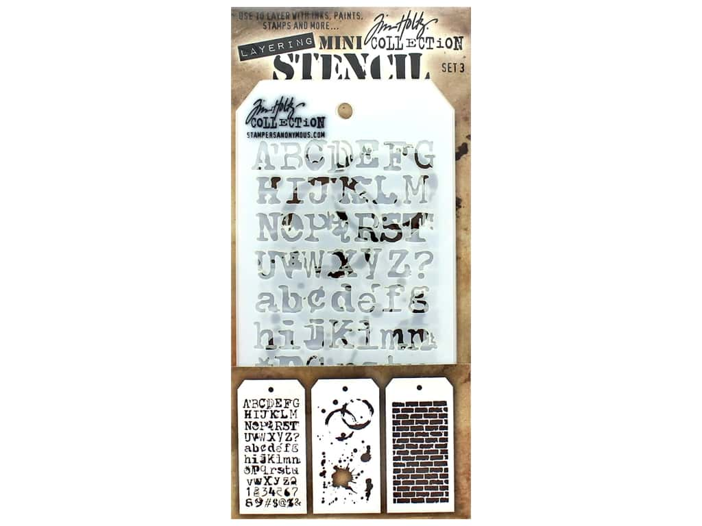 Stampers Anonymous Tim Holtz Layering Mini Stencil Set #3