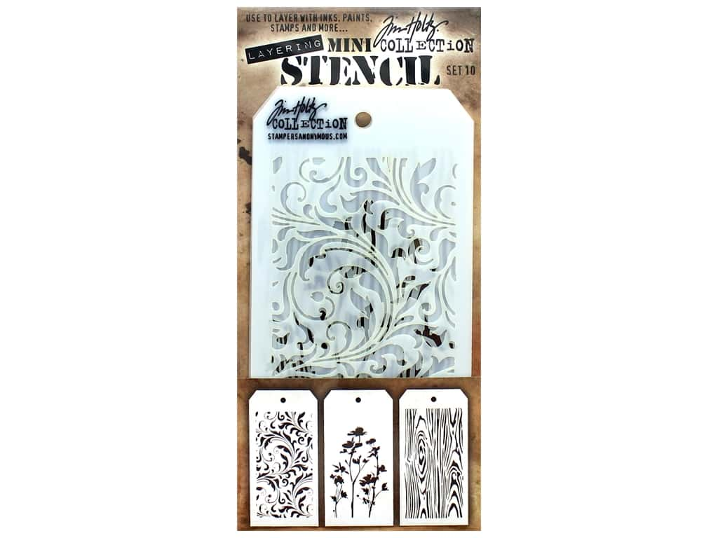 Stampers Anonymous Tim Holtz Layering Mini Stencil Set #10