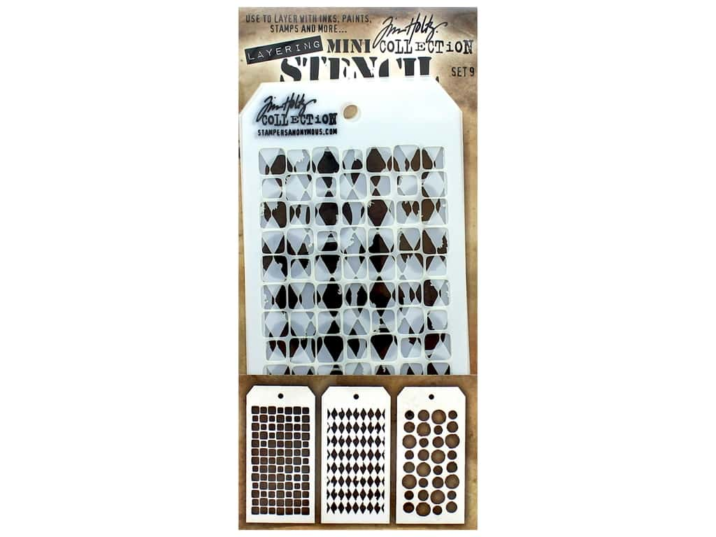 Stampers Anonymous Tim Holtz Layering Mini Stencil Set #9