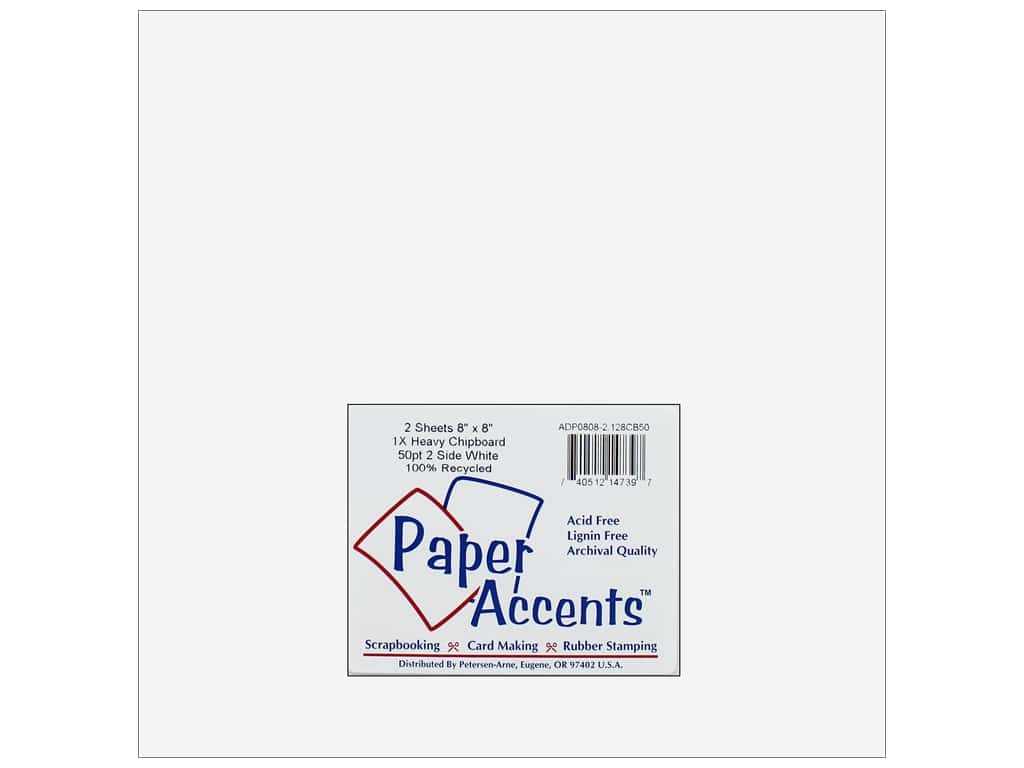 Paper Accents Chipboard 8 x 8 in. 50 pt. Extra Heavy 2-Sided White 2 pc.
