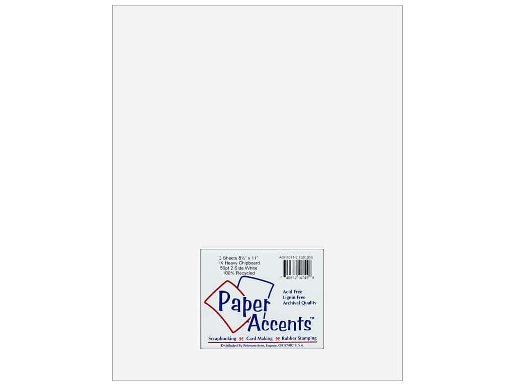 Paper Accents Chipboard 8 1/2 x 11 in. 50 pt. Extra Heavy 2-Sided White 2 pc.