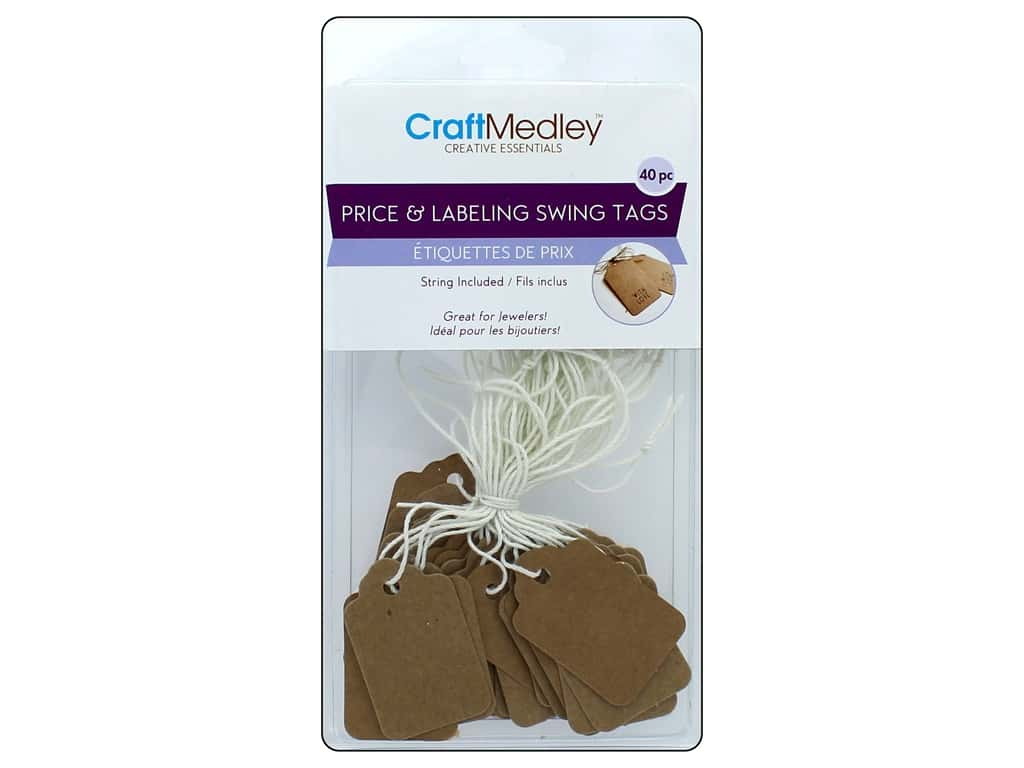 Mulitcraft Embellishments Price/Label Tags on String Kraft