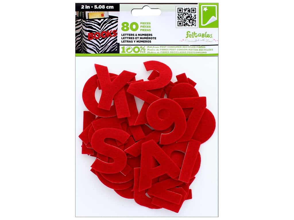 CPE Stick-It Felt Letters & Numbers 2 in. Red