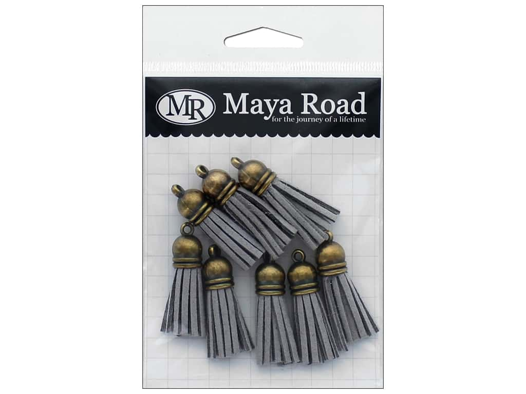Maya Road Products Vintage Tassels With Antique Gold Cap Smoke Grey