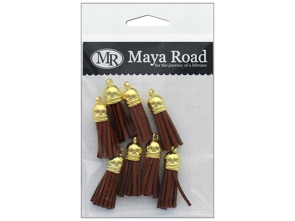 Maya Road Products Vintage Tassels Gold Cap Bark Brown