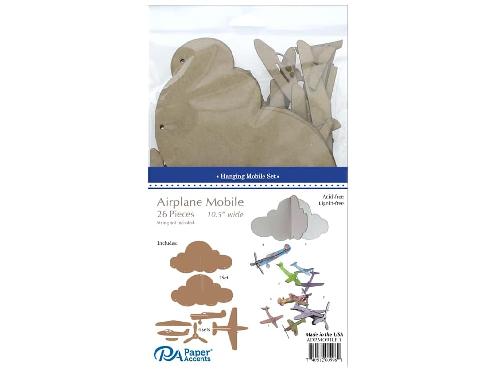 Paper Accents Chipboard Hanging Mobile Set 26 pc. Airplanes