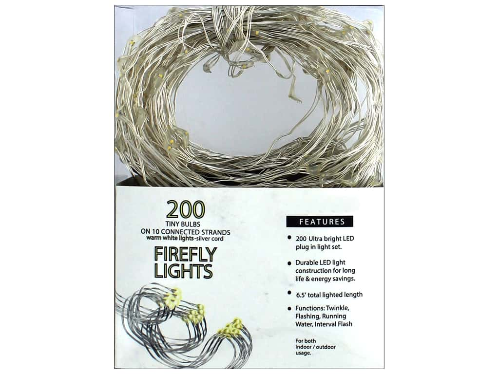 Sierra Pacific Crafts Lights Firefly LED 200 ct Warm White Silver Cord