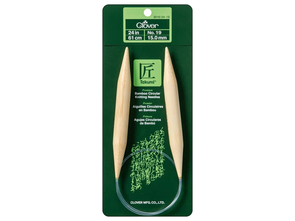 Clover Bamboo Circular Knitting Needles 24 in. Size 19 (15 mm)
