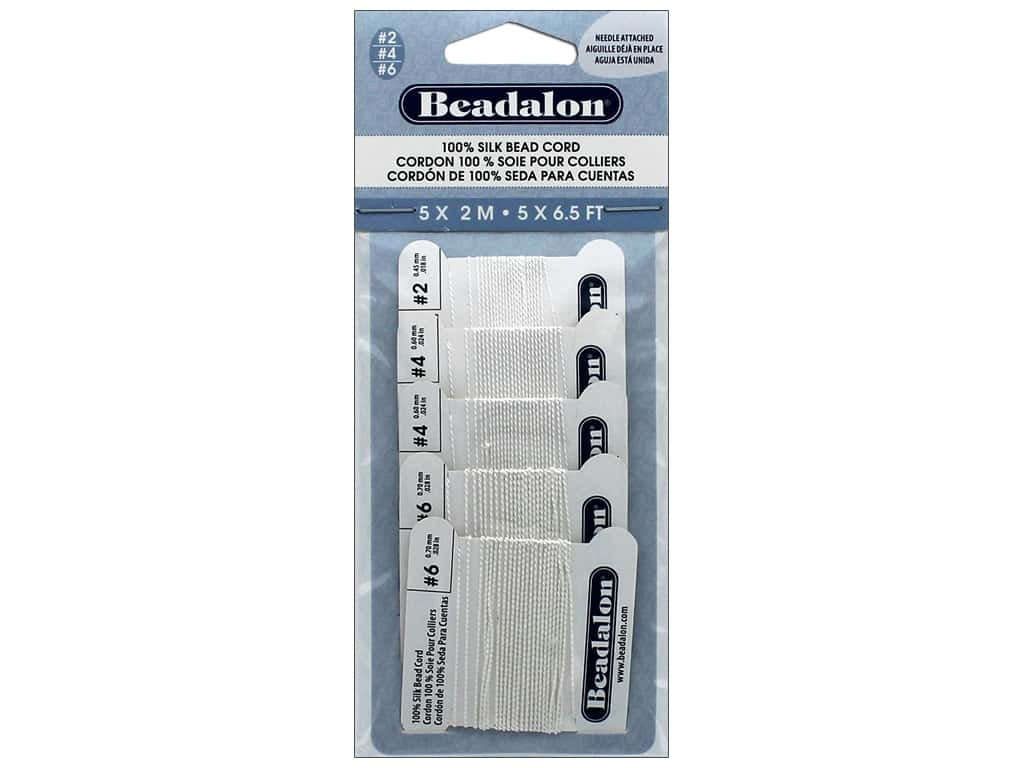 Beadalon 100% Silk Bead Cord  Assorted Sizes 5 pc. White