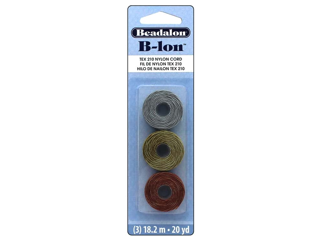 Beadalon B-Lon Nylon Cord 3 pc. Tex 210 Silver, Gold, & Copper