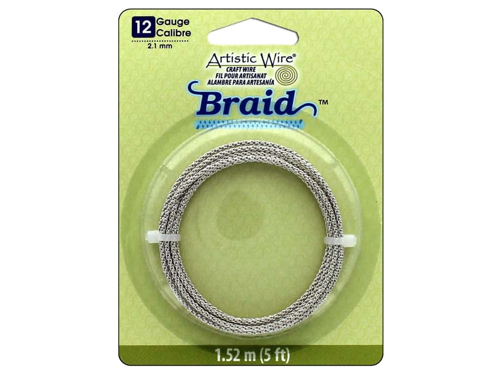 Artistic Wire 12 ga. Round Braided Wire 5 ft. Tarnish Resistant Silver
