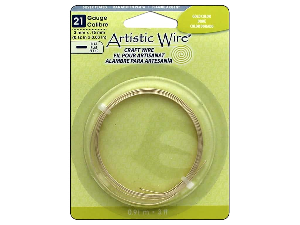 Artistic Wire 21 ga. Flat Wire 3 ft. Gold Color