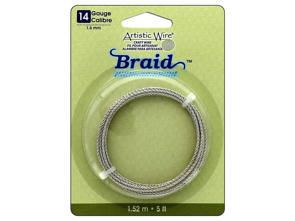 Artistic Wire 14 ga. Round Braided Wire 5 ft. Tarnish Resistant Silver