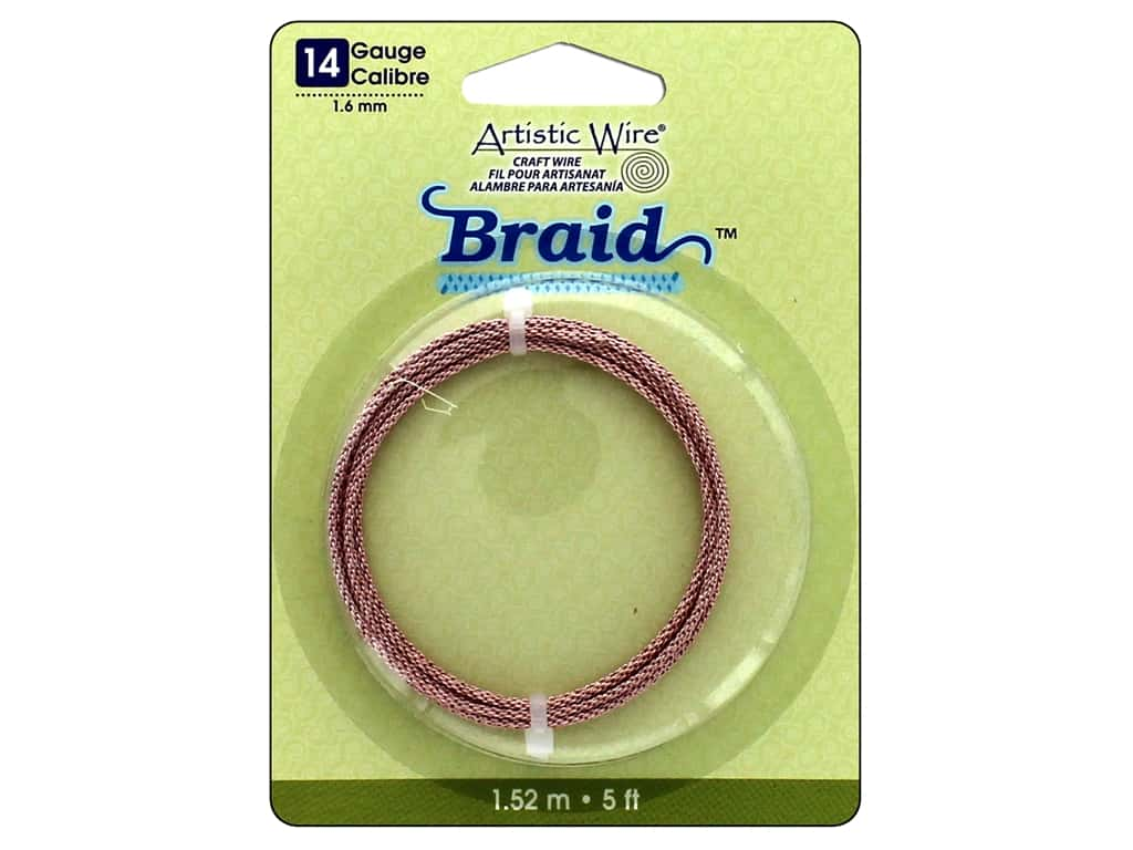 Artistic Wire 14 ga. Round Braided Wire 5 ft. Rose Gold Color