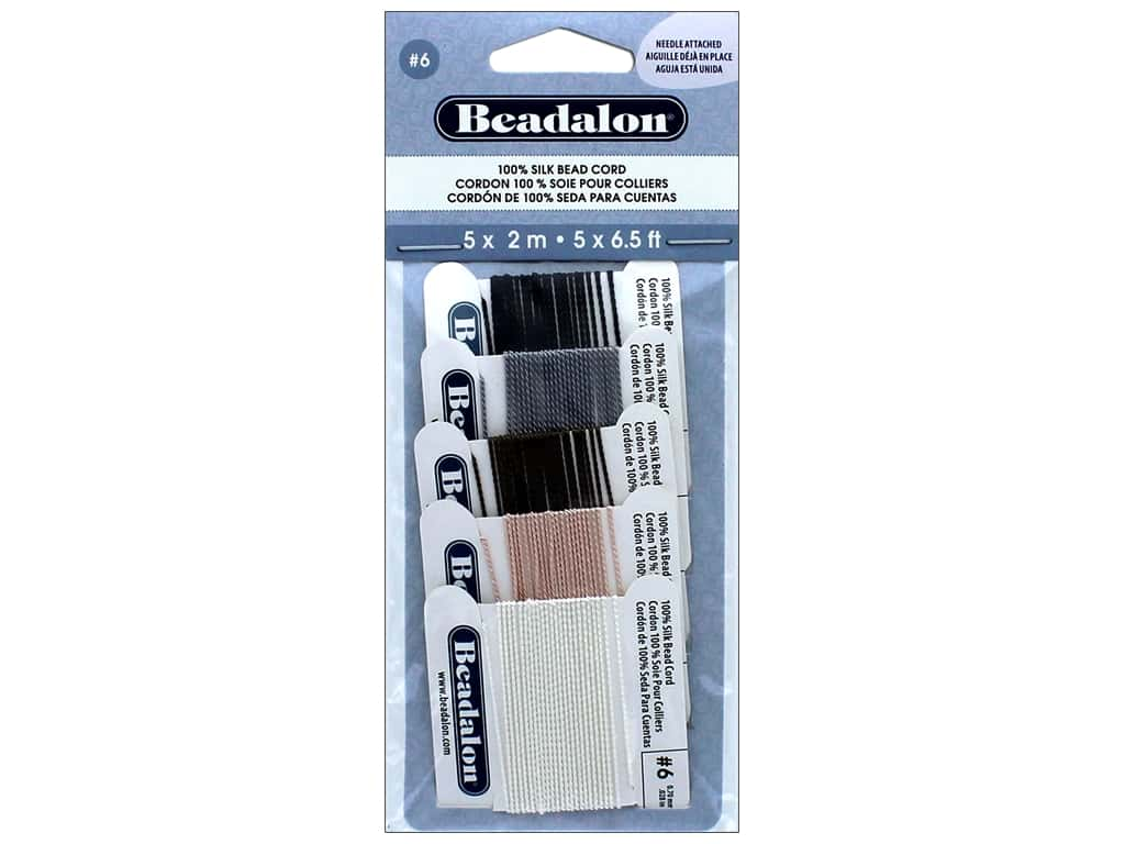 Beadalon 100% Silk Bead Cord Size 6 5 pc. Variety Pack
