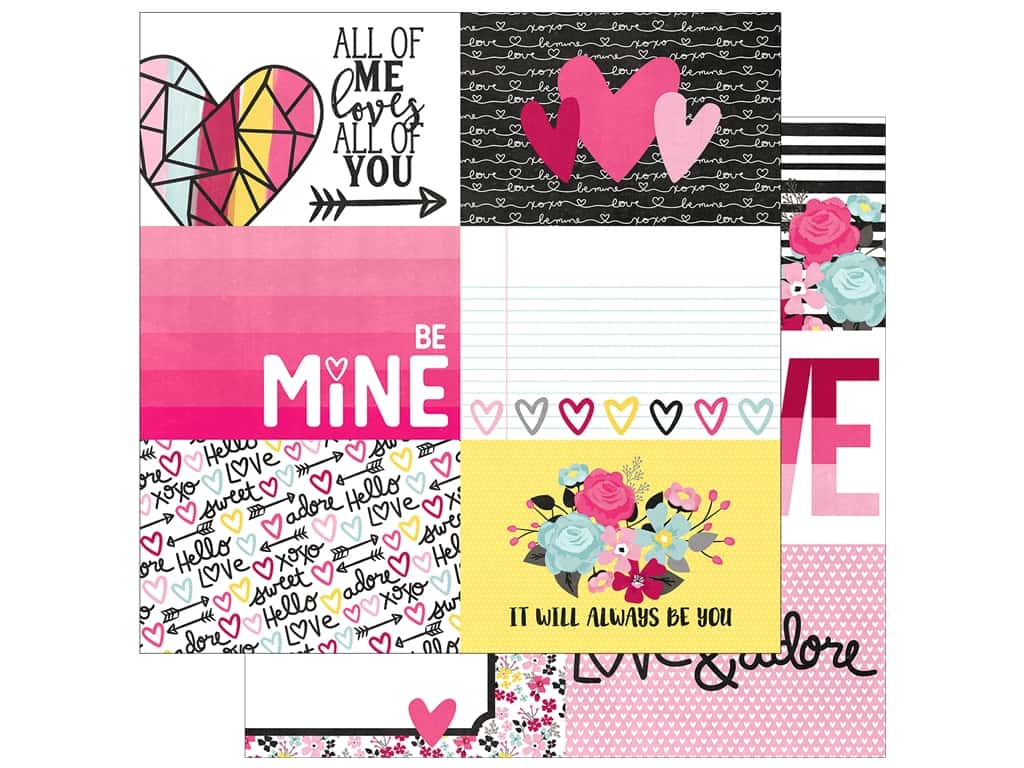 """Simple Stories Collection Love & Adore Paper 12""""x 12"""" Journaling Card Elements Horizontal 4""""x 6"""" (25 pieces)"""