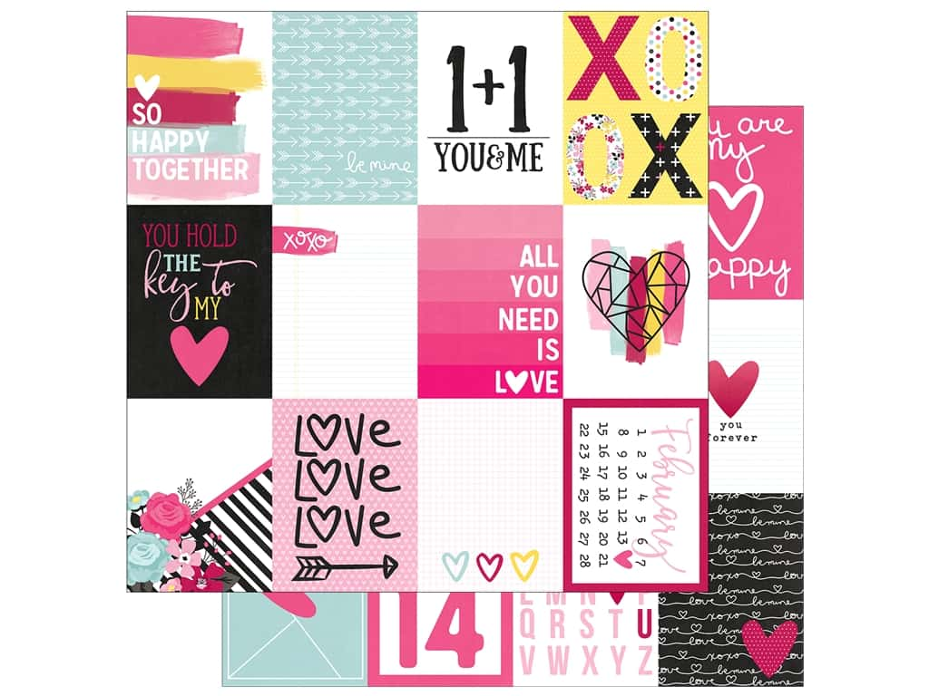 "Simple Stories Collection Love & Adore Paper 12""x 12"" Journaling Card Elements 3""x 4"" (25 pieces)"