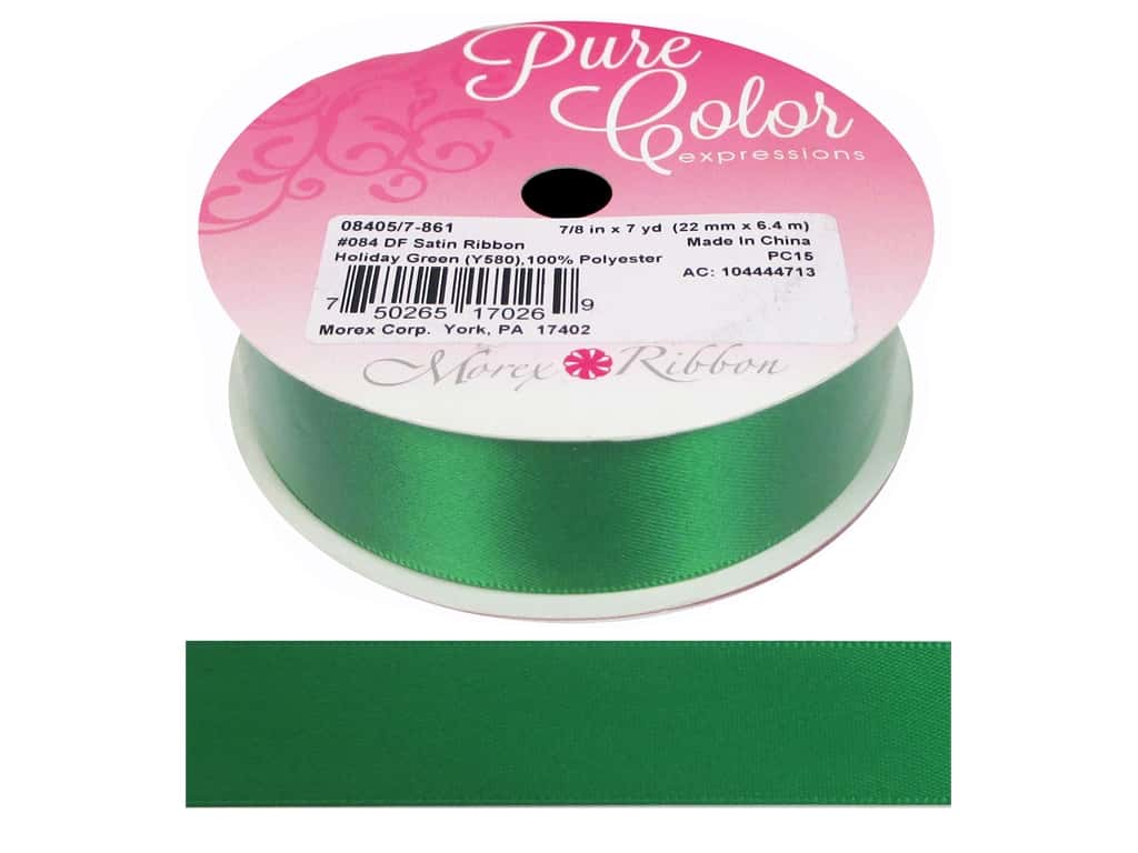 Morex Double Face Satin Ribbon 7/8 in. x 7 yd. Holiday Green