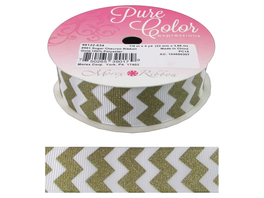 "Morex Ribbon Sugar Chevron 7/8""x 4yd Gold"