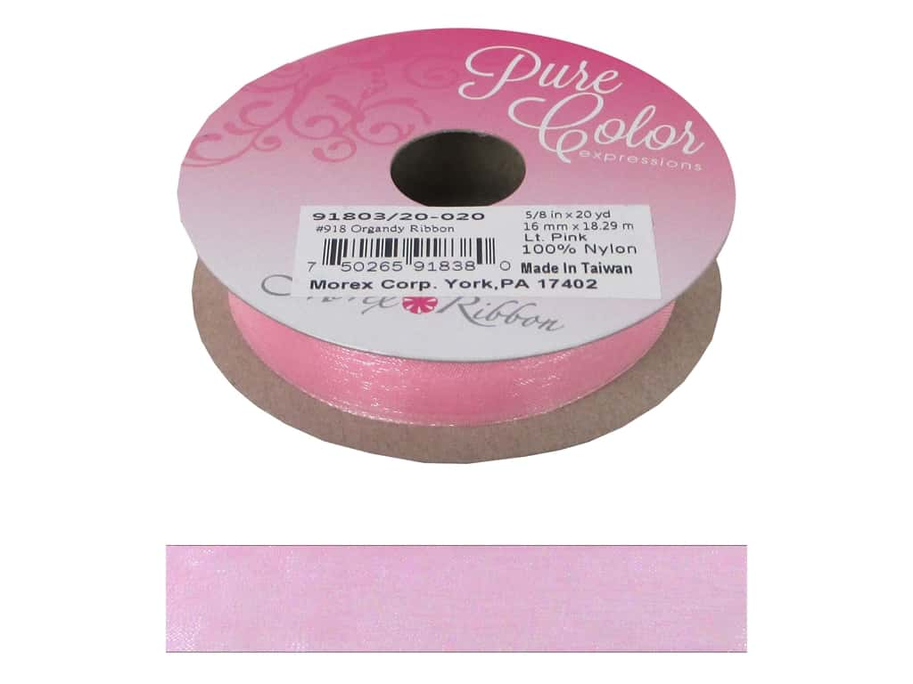 Morex Ribbon Organdy 5/8 in. x 20 yd Light Pink