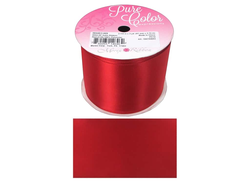 Morex Double Face Satin Ribbon 2 1/4 in. x 3 yd. Red