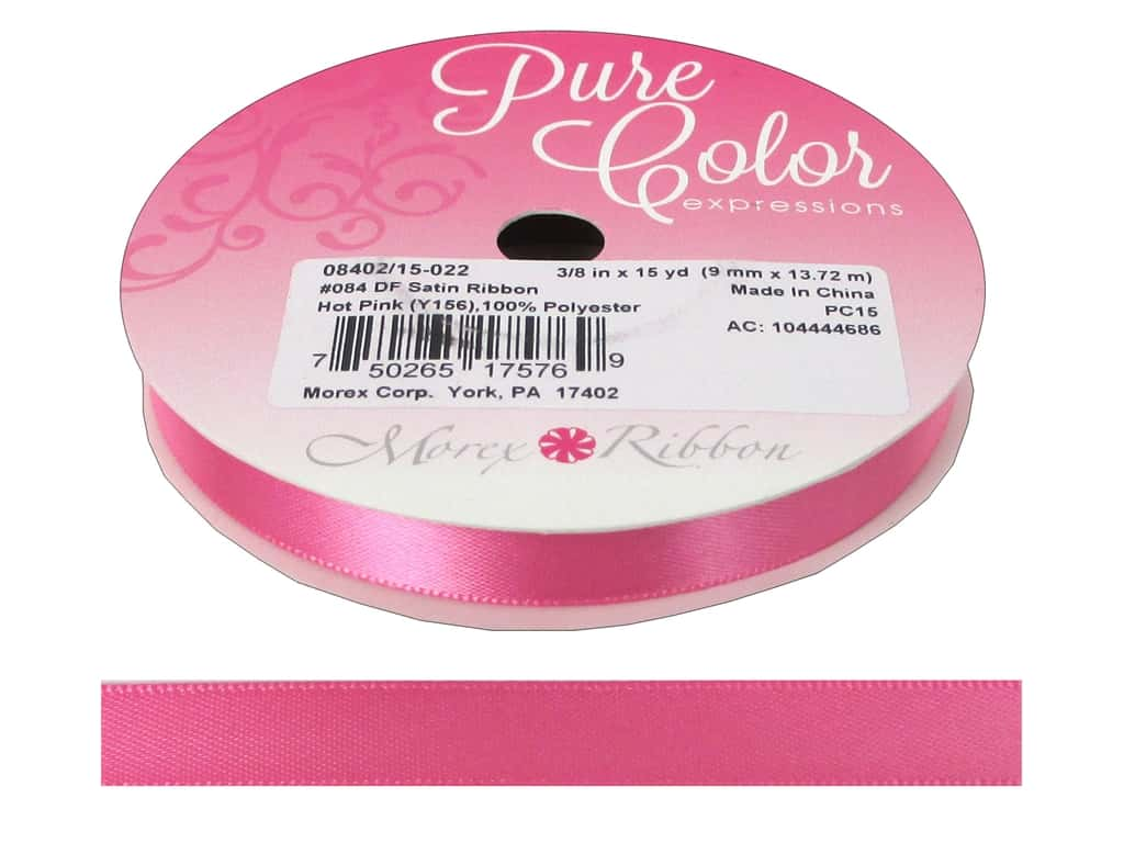 Morex Double Face Satin Ribbon 3/8 in. x 15 yd. Hot Pink