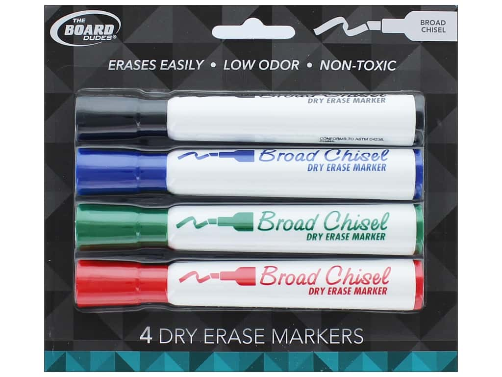 The Board Dudes Dry Erase Marker Broad Point 4 pc. Blue/Black/Green/Red
