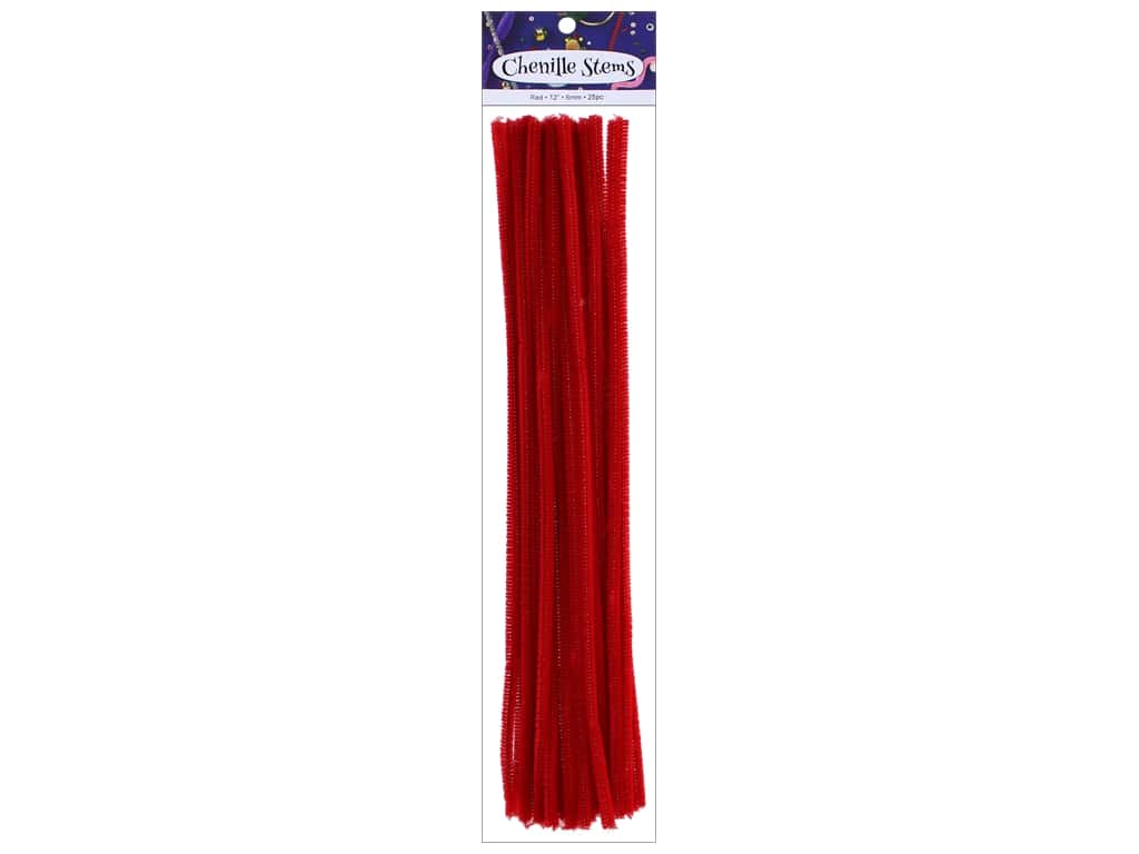 PA Essentials Chenille Stems 6 mm x 12 in. Red 25 pc.