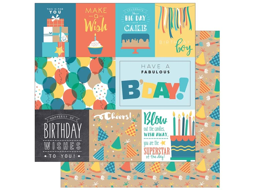 "Echo Park Collection Birthday Boy Paper 12""x 12"" Journaling Cards (15 pieces)"