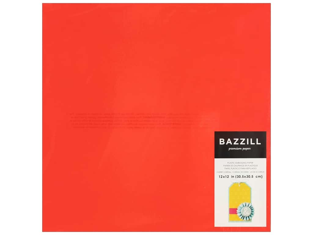 "Bazzill Plastic Embossing Sheet 12""x 12"" Cherry (15 pieces)"