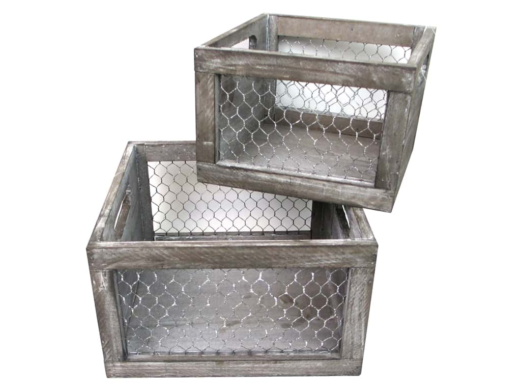 Sierra Pacific Crafts Wood Crate with Chicken Wire Sides Set/2 Brown