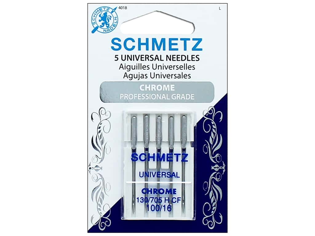 Schmetz Machine Universal Needle Chrome Size 100/16 5pc