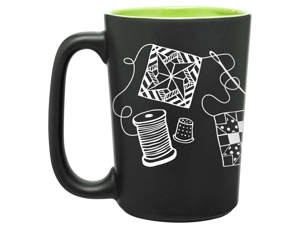 Happy Lines Quilt Mug Scribbles Lime Green