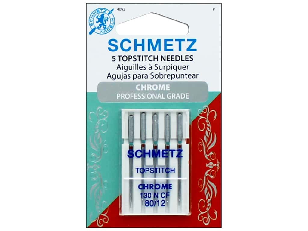Schmetz Topstitch Needle Chrome Size 80/12 5pc