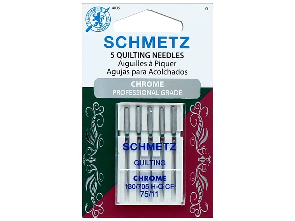 Schmetz Machine Quilting Needle Chrome Size 75/11 5pc