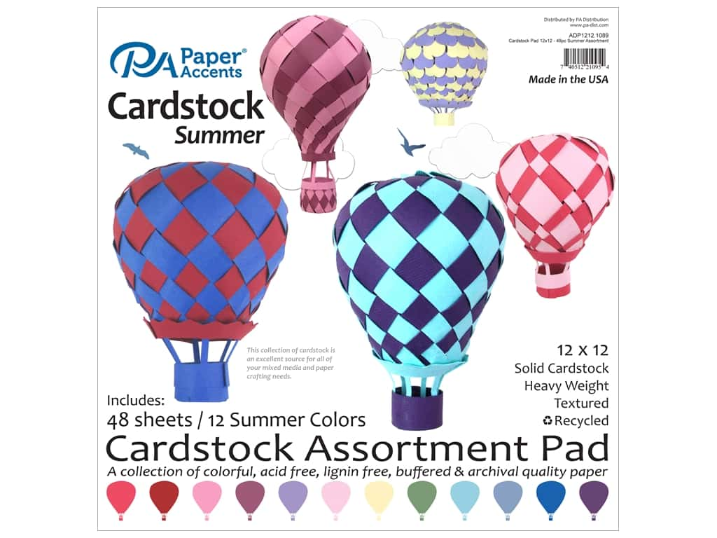 Paper Accents 12 x 12 in. Cardstock Pad 48 pc. Summer
