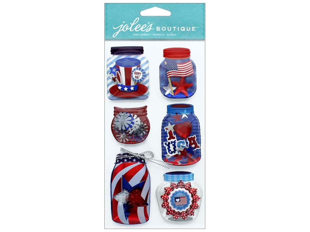 EK Jolee's Boutique Large Patriotic Mason Jar Lantern