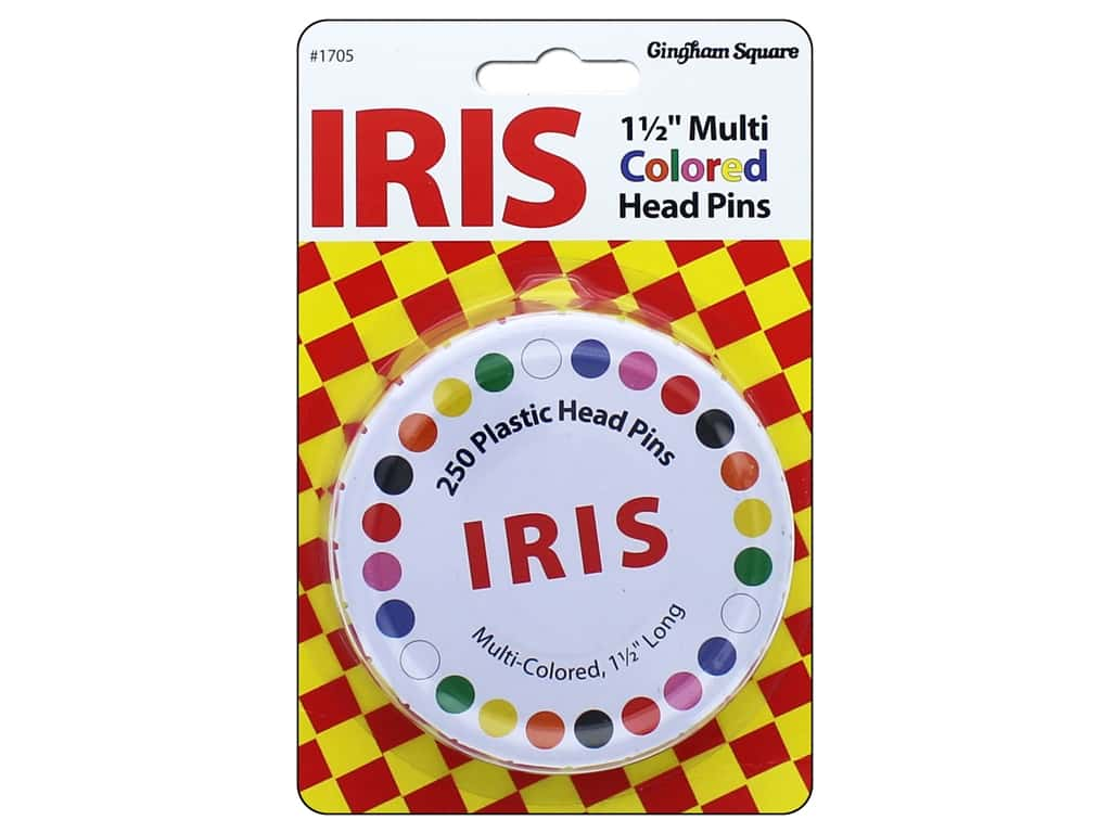 Gingham Square Notions Swiss Pin Iris Multi Colored 250pc