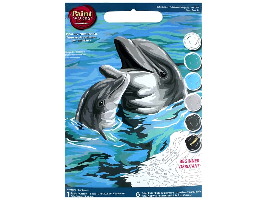 Dimensions PaintWorks Paint By Number 8 in. x 10 in. Dolphins Duo