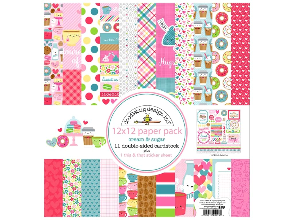 """Doodlebug Collection Cream & Sugar Paper Pack 12""""x 12"""""""