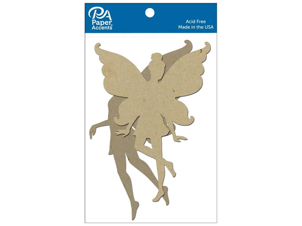 Paper Accents Chipboard Shape Fairy 4 pc. Natural