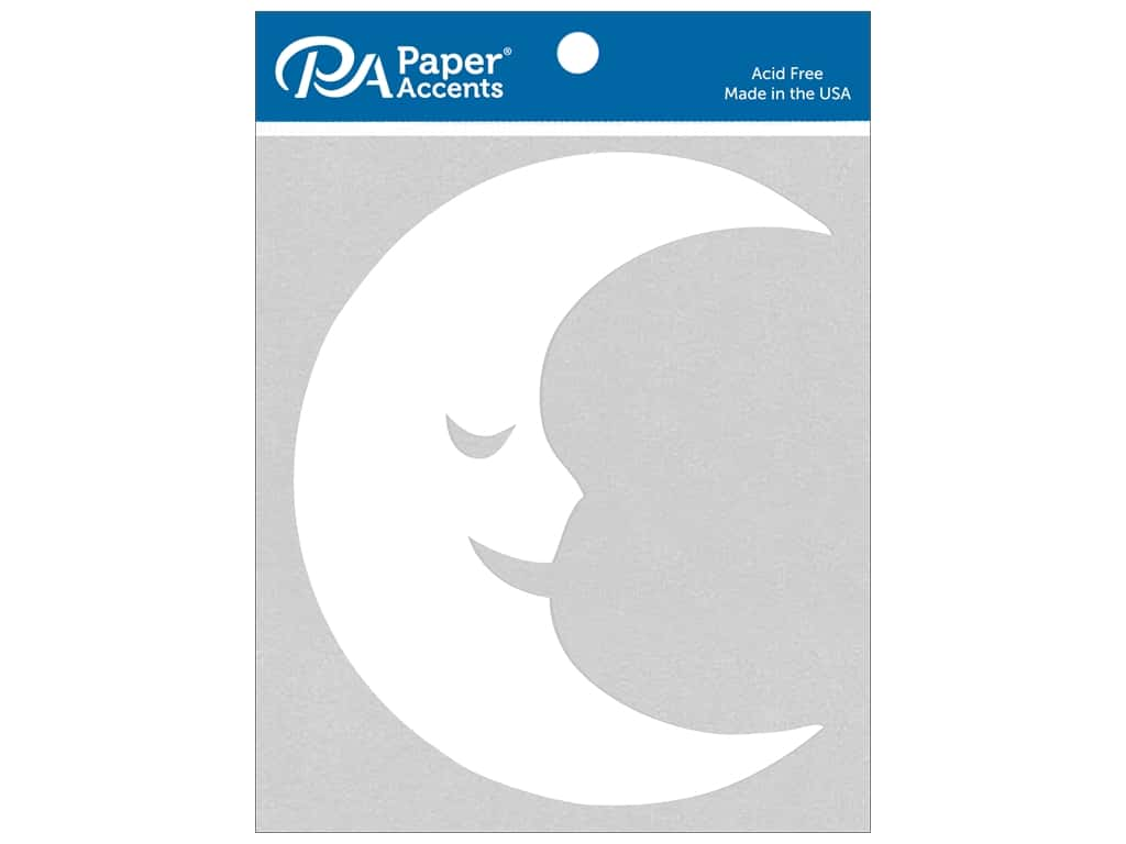 Paper Accents Chip Shape Moon White 6 pc