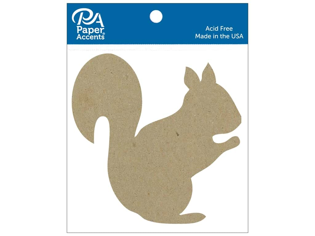 Paper Accents Chip Shape Squirrel Natural 6 pc