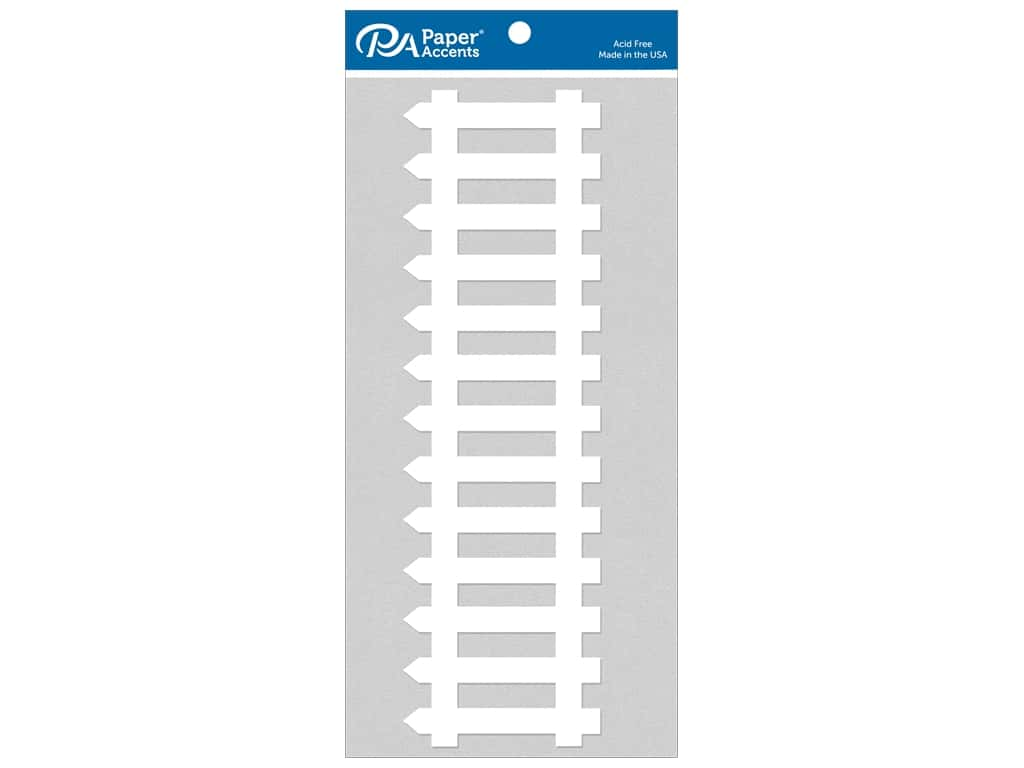 Paper Accents Chipboard Shape 8 in. Picket Fence 2 pc. White
