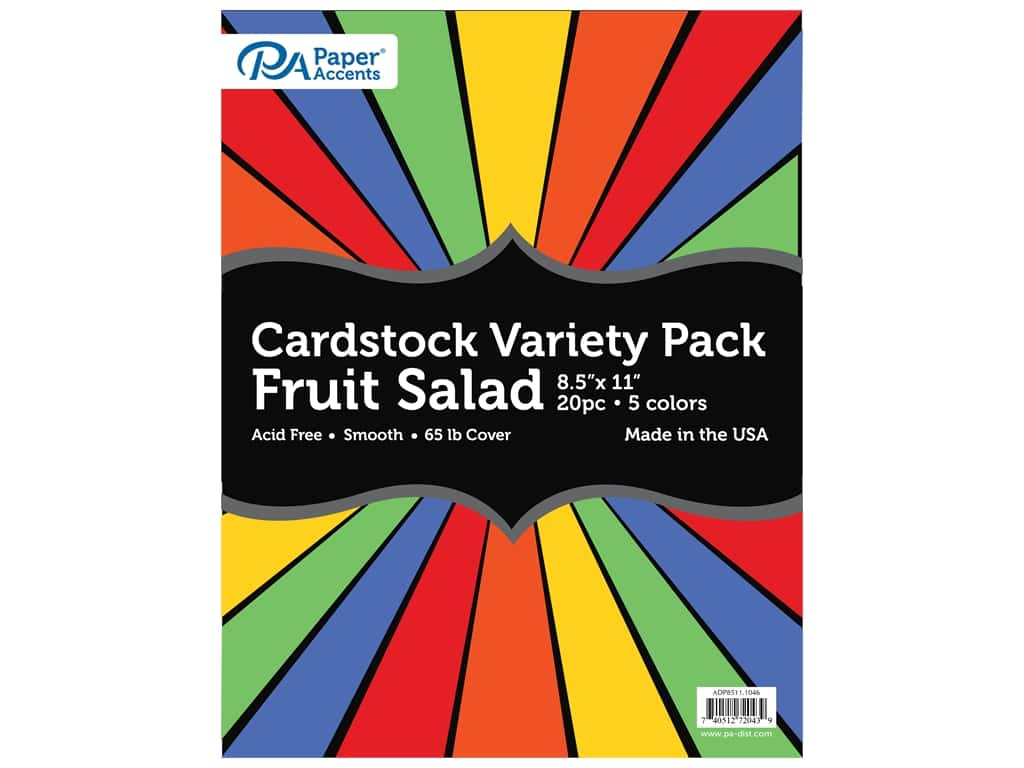 Paper Accents Cardstock Variety Pack 8 1/2 x 11 in. Fruit Salad 20 pc.