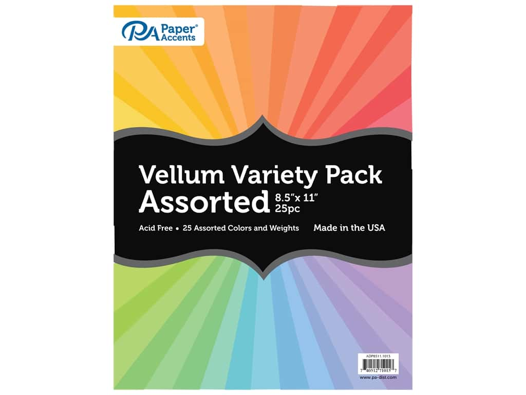 Paper Accents Vellum Variety Pack 8 1/2 x 11 in. Assorted 25 pc.
