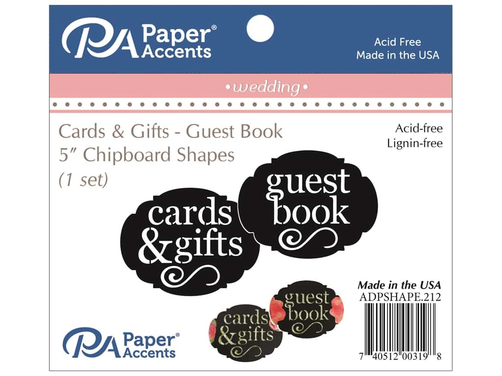 Paper Accents Chipboard Shape Guest Book/Card & Gift 1 Set Black