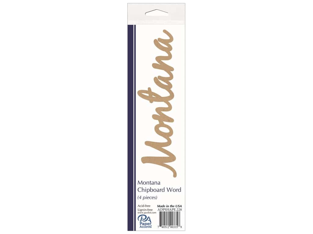 Paper Accents Chipboard Word Montana 4 pc. Natural