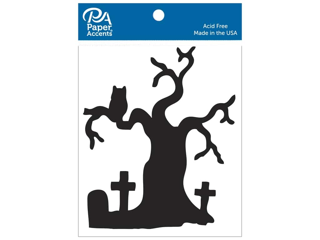 Paper Accents Chipboard Shape 4 pc. Graveyard Tree Black